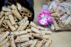 Gerold wafeltje met sesamzaden stock afbeelding