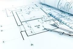 Gerolde blauwdrukken, heerser en tekeningskompas op architecturaal PR Stock Afbeelding