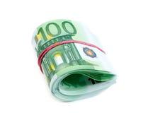 100 gerolde de euro isoleert Royalty-vrije Stock Afbeeldingen