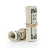 Gerolde honderd die dollarsbankbiljetten worden gebonden met Royalty-vrije Stock Afbeeldingen