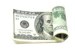 Gerolde honderd-dollar rekeningen D Stock Fotografie