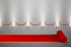 Gerolde rode tapijt en omheining met verlichting stock illustratie