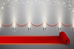 Gerolde rode tapijt en omheining met verlichting en vage fonkelingen vector illustratie