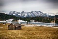 Geroldsee at wintertime, Krün, German Alps Royalty Free Stock Photography