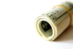Gerollt herauf Dollarscheine Stockfotografie