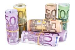 Gerollt herauf Eurobanknoten auf weißem Hintergrund Stockfotografie