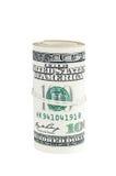 Gerollte Banknoten von 100 Dollar Stockfoto