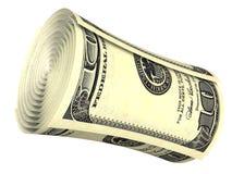 Gerollte Dollarbanknote getrennt Lizenzfreie Stockbilder