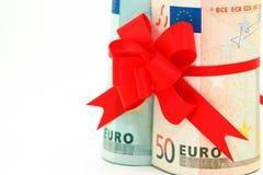 Gerollte Euronahaufnahme Stockbilder