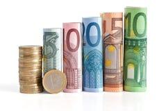 Gerollte Eurorechnungen und Münze Stockfotografie