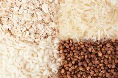 Gerollte Hafer, Reis und Buchweizen Lizenzfreie Stockfotos