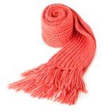 Gerollter roter Textilschal lokalisiert Stockbild