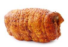 Gerolltes Fett mit den Gewürzen, lokalisiert stockfoto