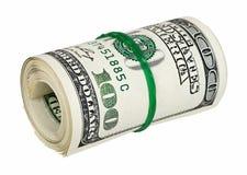 Gerolltes Geld getrennt auf Weiß Lizenzfreies Stockbild