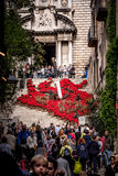 Gerona, flower decoration on the stairs of Pujada de Sant Domènec. Photogrph of a decoration on the stairs of Pujada de Sant Domènec, center of Gerona Stock Photo