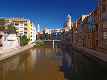 Gerona old town with Onyar river Stock Photos