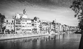 Gerona. Photograph of  Gerona center with the Cathedral of St. Mary in background, Catalonia, Spain Stock Image