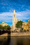 Gerona. Photograph of  Gerona center with the Cathedral of St. Mary in background, Catalonia, Spain Stock Photo