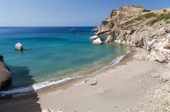Gerontas海滩,芦粟海岛,基克拉泽斯,希腊 库存照片