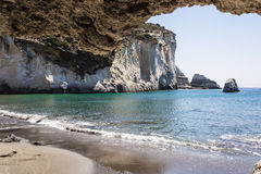 Gerontas beach at Milos island, Cyclades, Greece stock photography