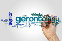 Gerontology word cloud. Concept on grey background royalty free illustration