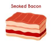 Gerookt bacon, gebraden vlees, varkensvlees, ham Beeldverhaal vlakke stijl Vector Stock Fotografie