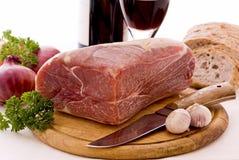 Gerookt ham met Brood en Wijn royalty-vrije stock fotografie