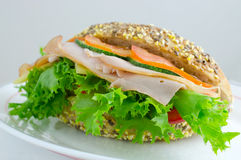Gerookt Ham Sandwich Stock Foto
