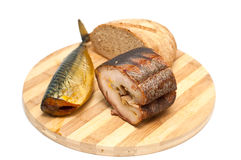 Gerookt vissen en brood Royalty-vrije Stock Foto