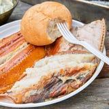 Gerookt vissen en brood Royalty-vrije Stock Afbeelding