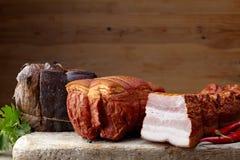 Gerookt vlees stock afbeelding