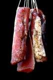 Gerookt vlees op zwarte achtergrond royalty-vrije stock foto