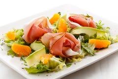 Gerookte bacon en groenten Stock Fotografie