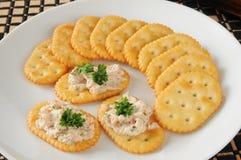 Gerookte die zalm op crackers wordt uitgespreid Stock Fotografie