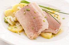 Gerookte Forel met Aardappelsalade stock foto