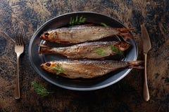 Gerookte haringen met dille royalty-vrije stock fotografie