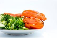Gerookte kip en groenten Stock Foto's