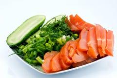 Gerookte kip en groenten Royalty-vrije Stock Foto's