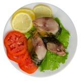 Gerookte makreel op een plaat Royalty-vrije Stock Afbeelding