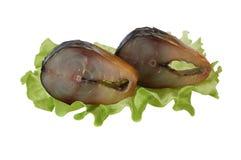 Gerookte makreelplakken op saladeblad Royalty-vrije Stock Foto's