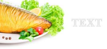 Gerookte tonijn op plaat dicht omhoog Royalty-vrije Stock Afbeeldingen