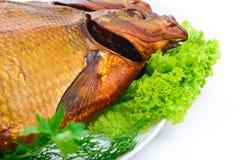 Gerookte vissen op plaat dicht omhoog Royalty-vrije Stock Foto