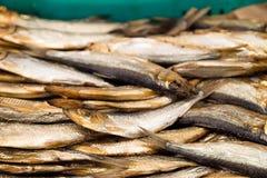Gerookte vissen voor verkoop bij vissenmarkt Gerookt bij rookhok, heerlijk voorgerecht stock afbeeldingen