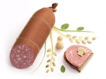 Gerookte worsten en sandwich Stock Afbeelding