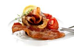 Geroosterd karperlapje vlees op organische aardappel royalty-vrije stock fotografie