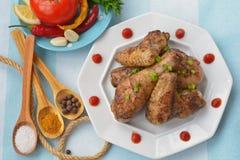 Geroosterd kip en zout, kerrie, peperbollen Royalty-vrije Stock Foto's