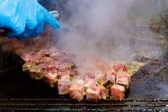 Geroosterd Kobe Beef Cube, Kobe-het Lapje vlees van rundvleesteppanyaki stock foto's