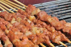Geroosterd Lam shashlik/lamsvleespen/shish kebab/op festival gastronomisch festival royalty-vrije stock foto