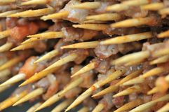 Geroosterd Lam shashlik/lamsvleespen/shish kebab/op festival gastronomisch festival stock afbeeldingen