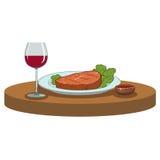 Geroosterd Lapje vlees en een glas wijn Stock Afbeelding